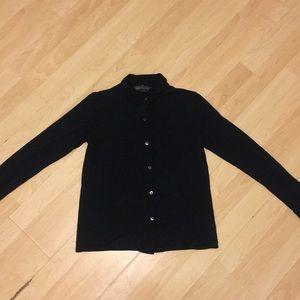 banana republic plain black classic blouse